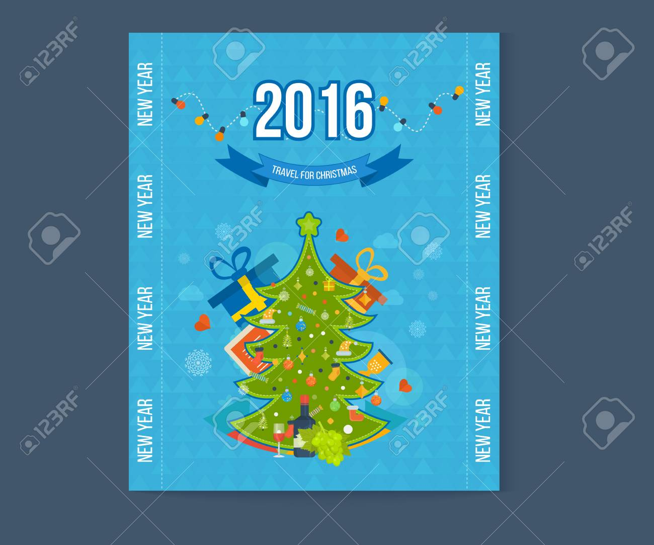 Invitation Card With Winter City Life And Space For Text Merry
