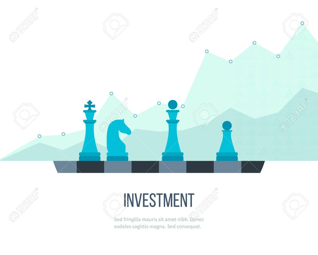 Flat line design concept for investment, finance, banking, market data analytics, strategic management. Strategy for successful business. Investment growth. Investment business. Investment management. - 50554204