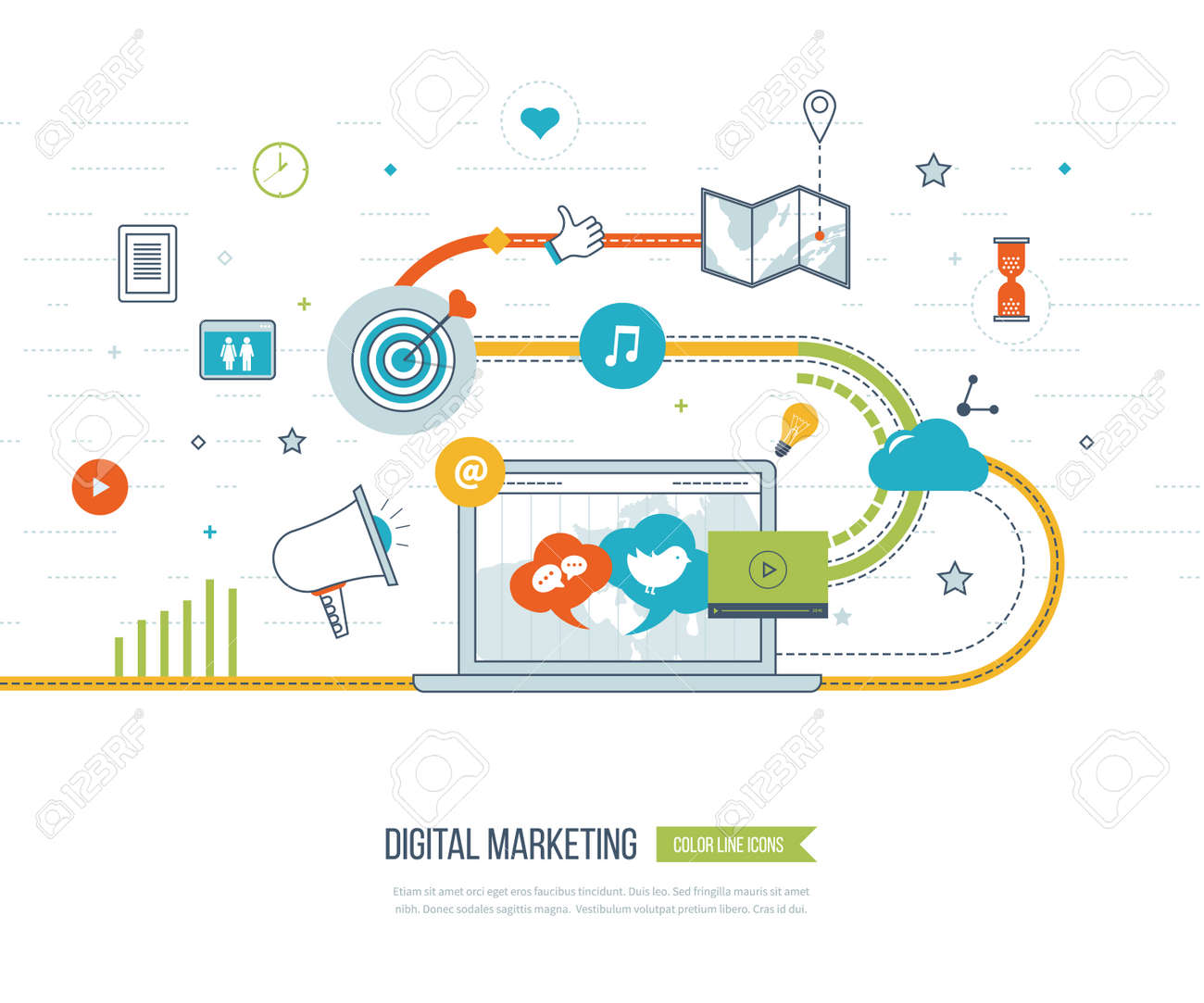 Digital marketing and social network concept for web and infographic. Teamwork and communication. Social media concept. Marketing strategy. Marketing plan - 50626584