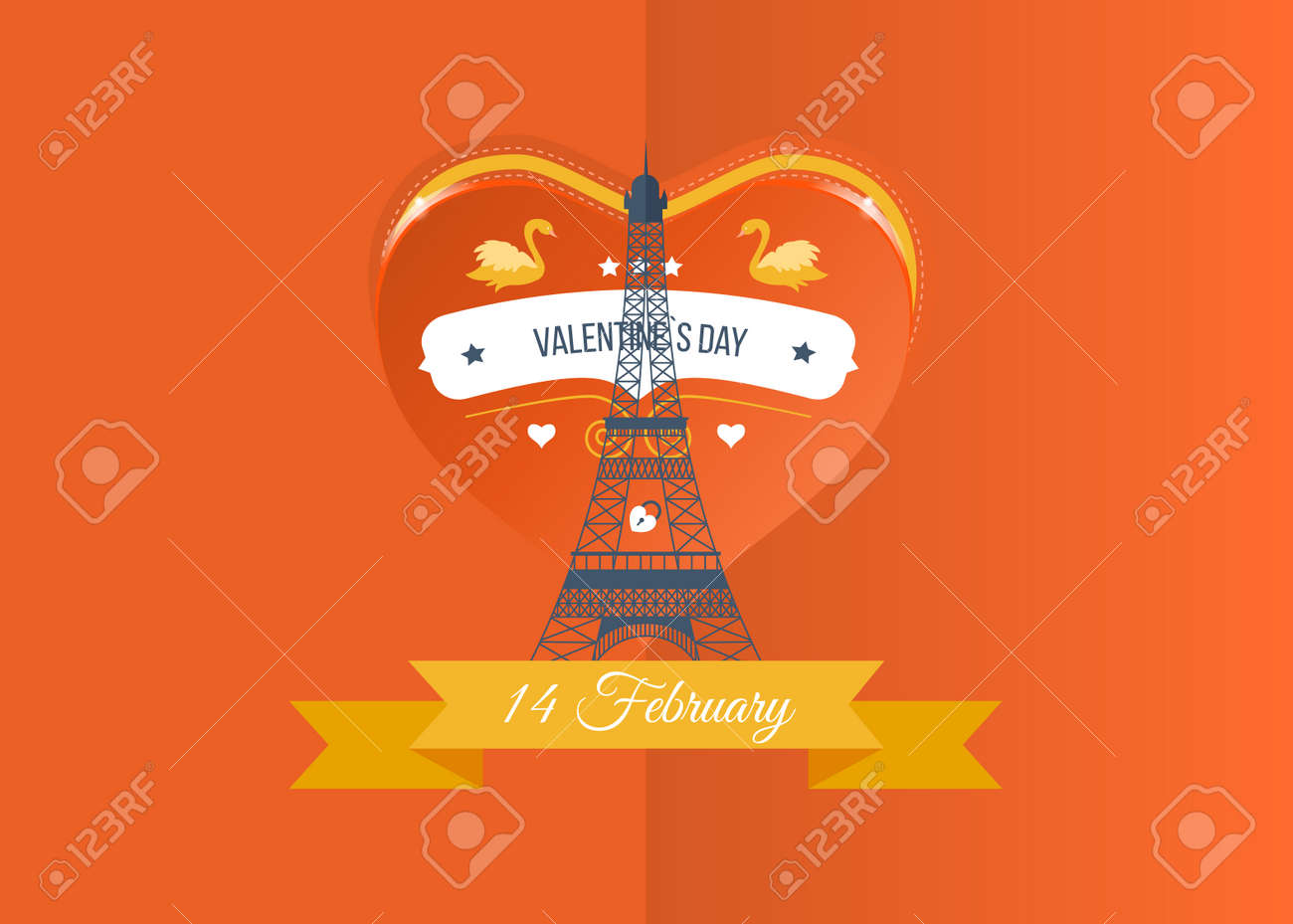 Postcard Drawing The Eiffel Tower On The Background Of The Heart ...