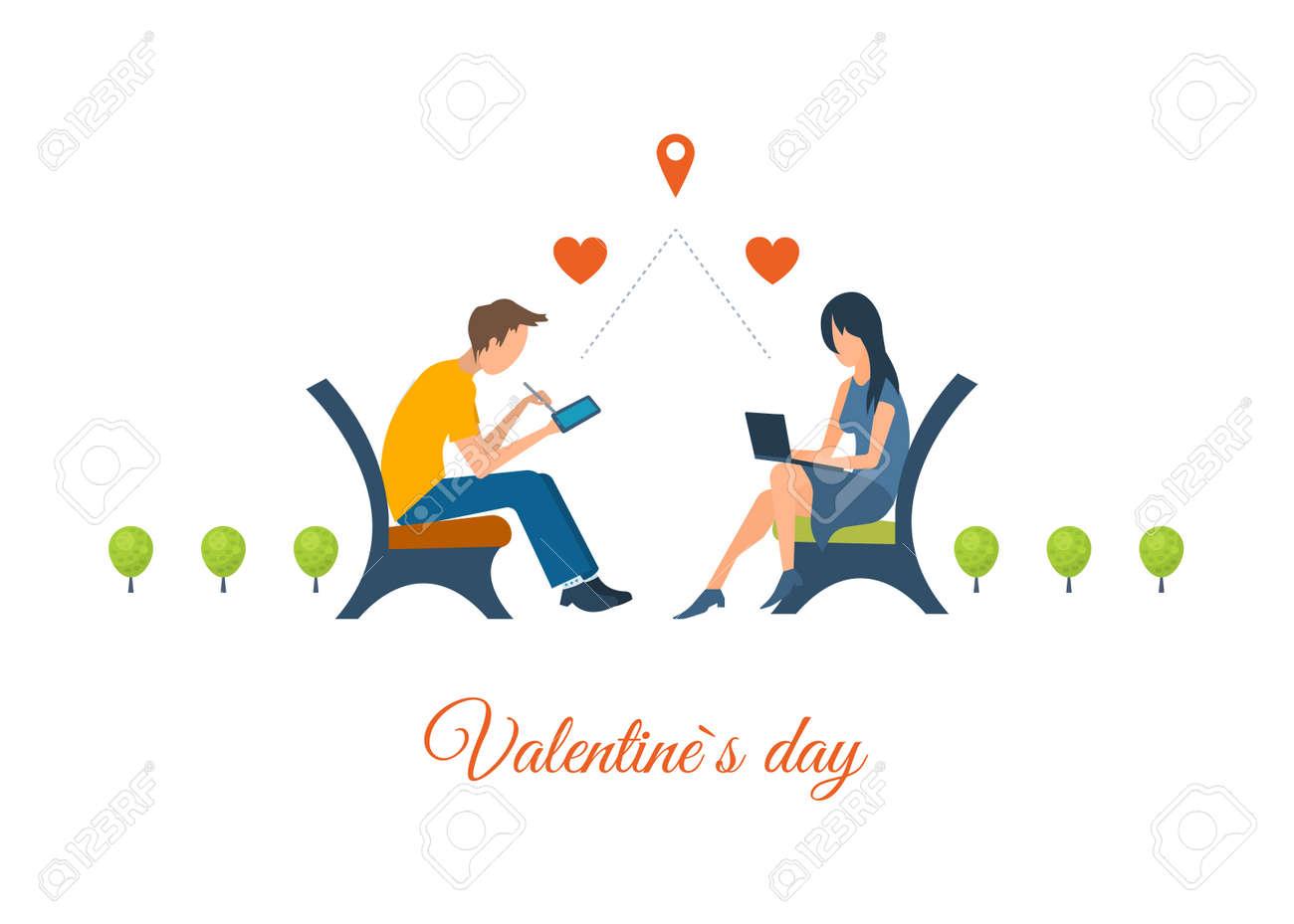 Garçon Et Fille Parlant Sur Internet La Communication En Ligne Réunion Amour Couple Carte Postale Saint Valentin La Lettre De Voeux De La