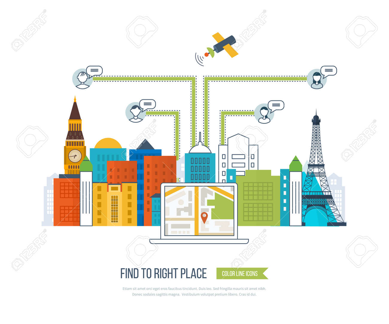 Concepts For Finding The Right Place And People On The Map For Travel And Tourism