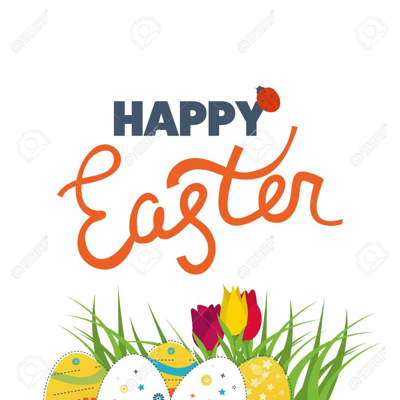 Glückliche Ostern-Karte Mit Eiern, Blumen. Osterei-Design-Set. Frohe ...
