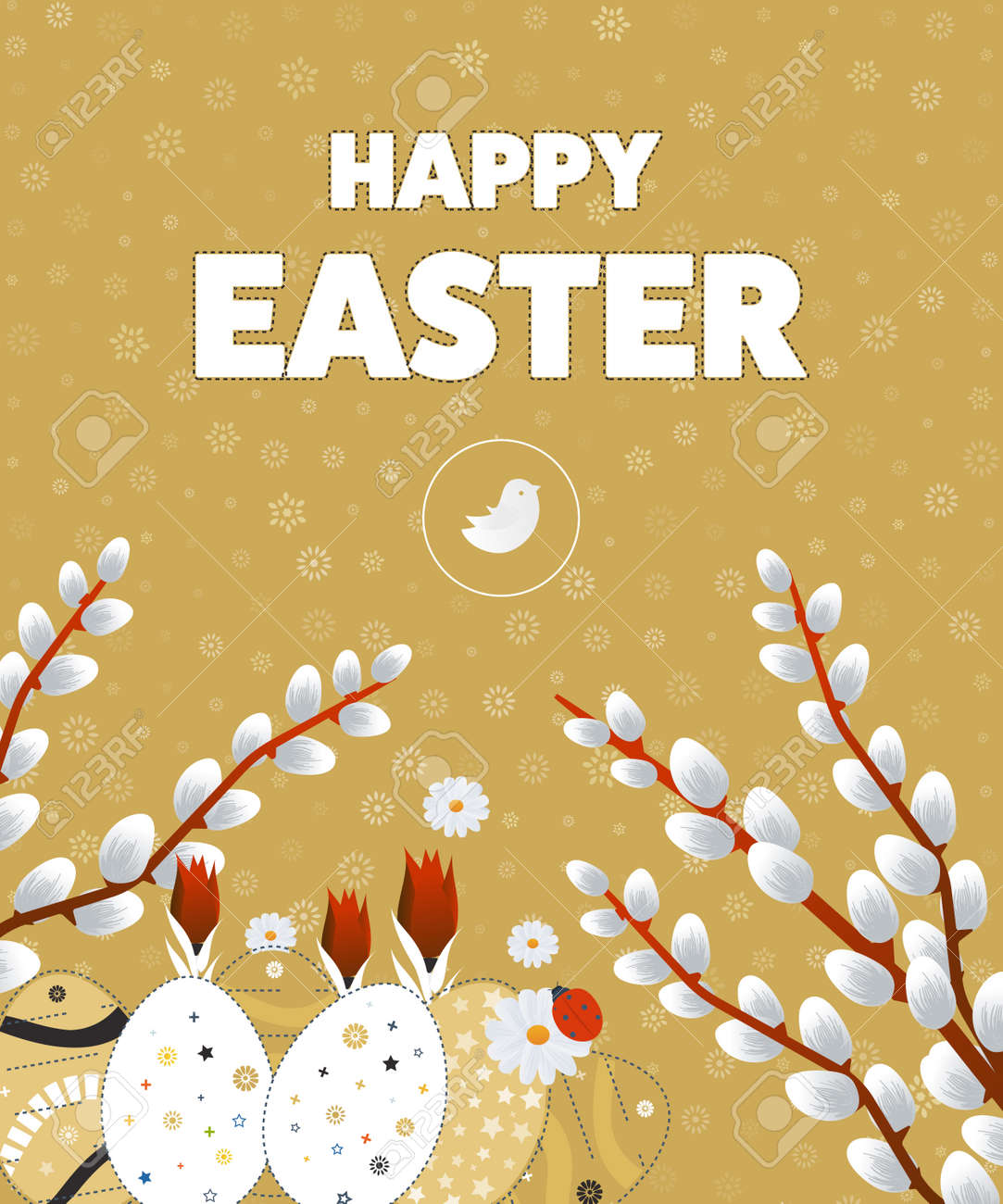Happy Easter Card With Eggs Easter Invitation Easter Egg Design