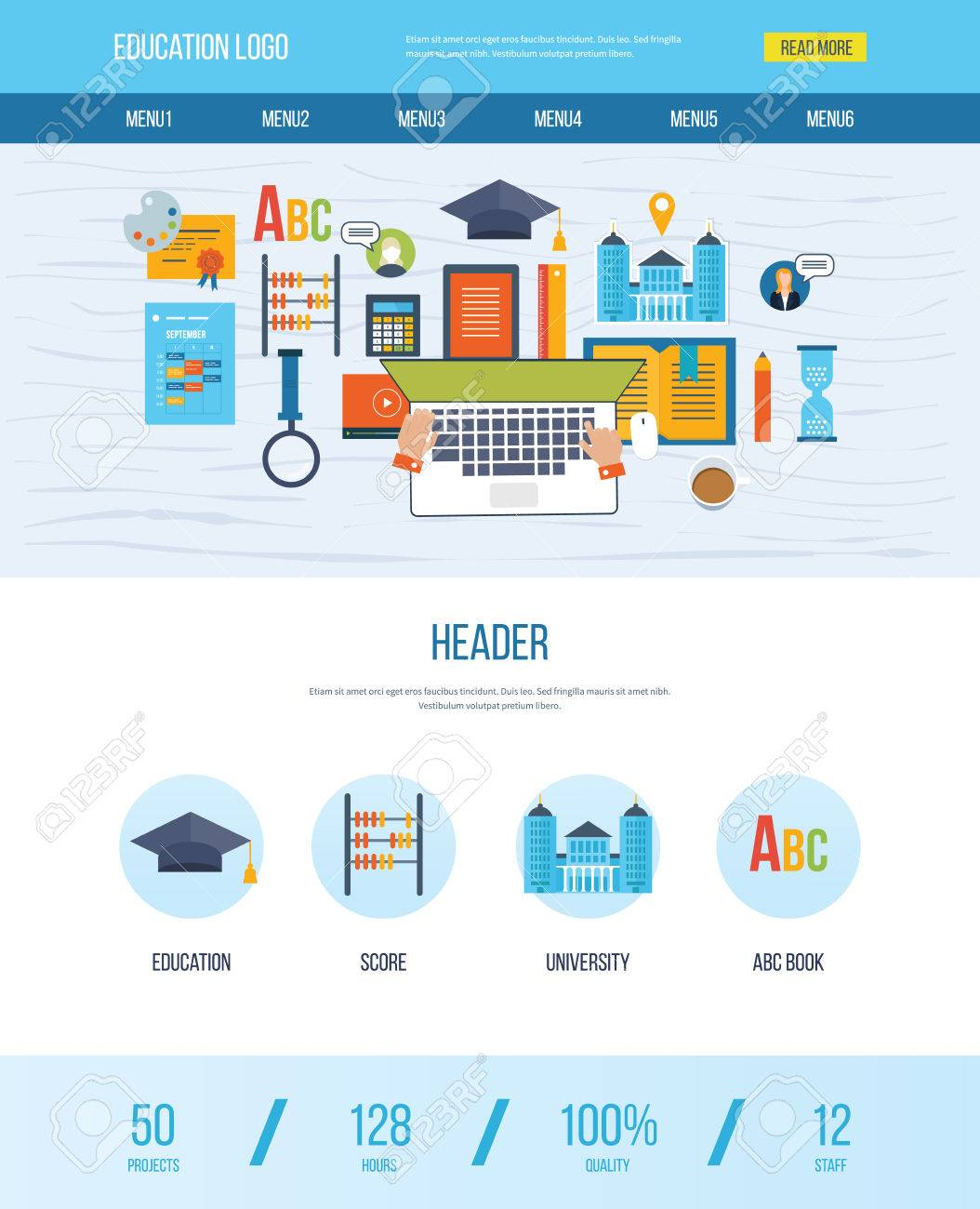 One Page Web Design Template With Icons Of Education. Set Of ...