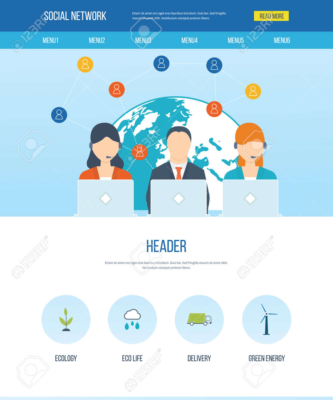 one page web design template with icons of social network and