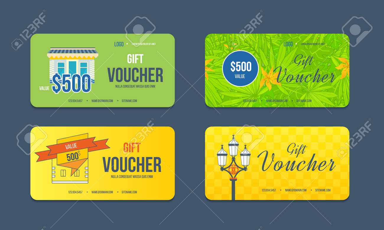 Gift Voucher Template. Collection Gift Certificate Business Card ...