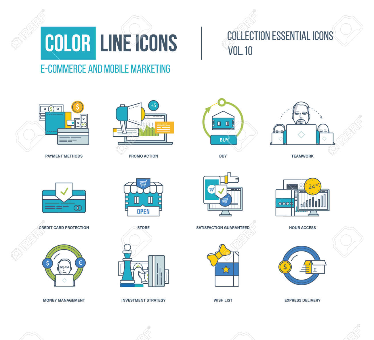 Color Thin Line Icons Set. E-commerce, Mobile Marketing, Investment ...