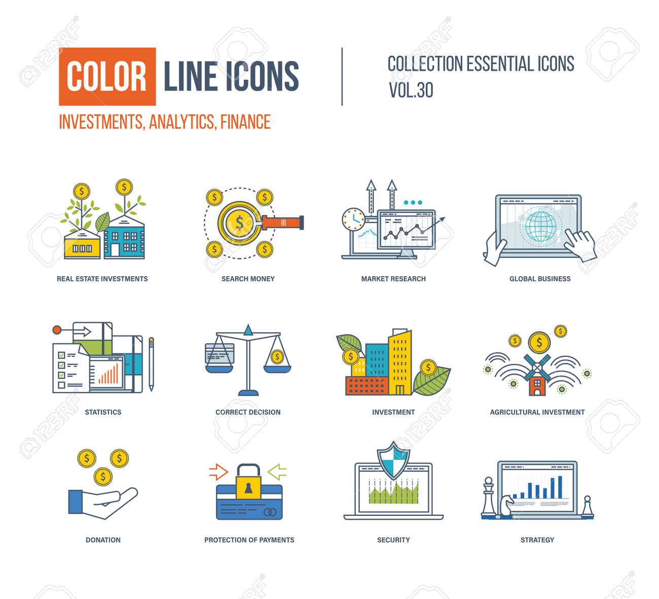 Color Line icons collection  Real estate investment, finance,