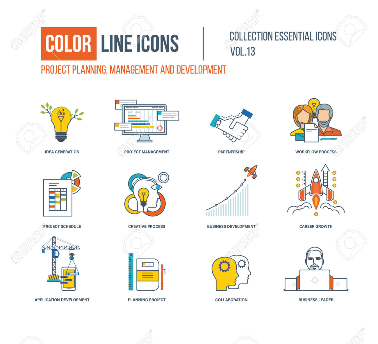 Color Line Icons Collection. Project Management, Partnership ...