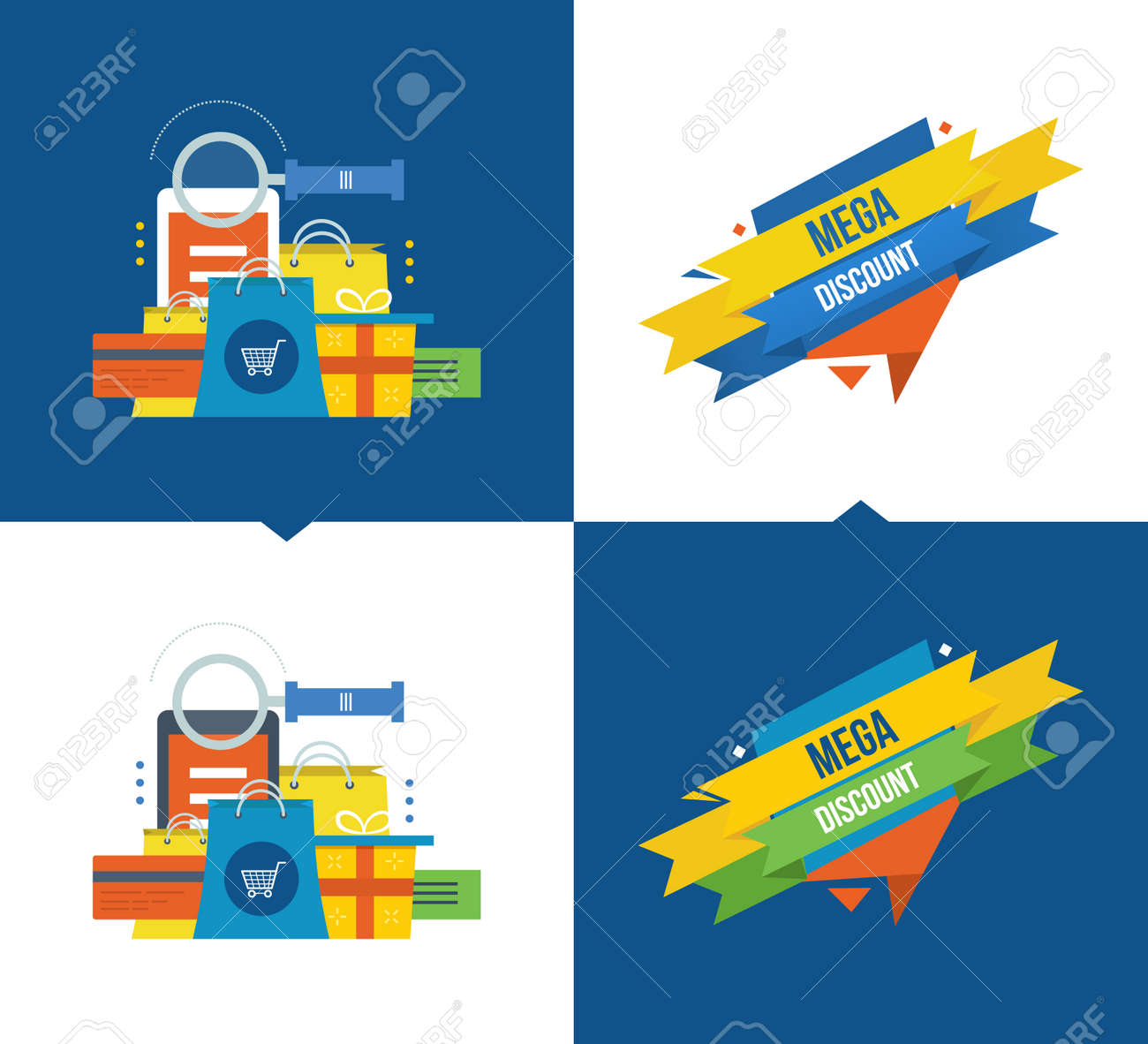 Concept illustration - methods of payment and online shopping,