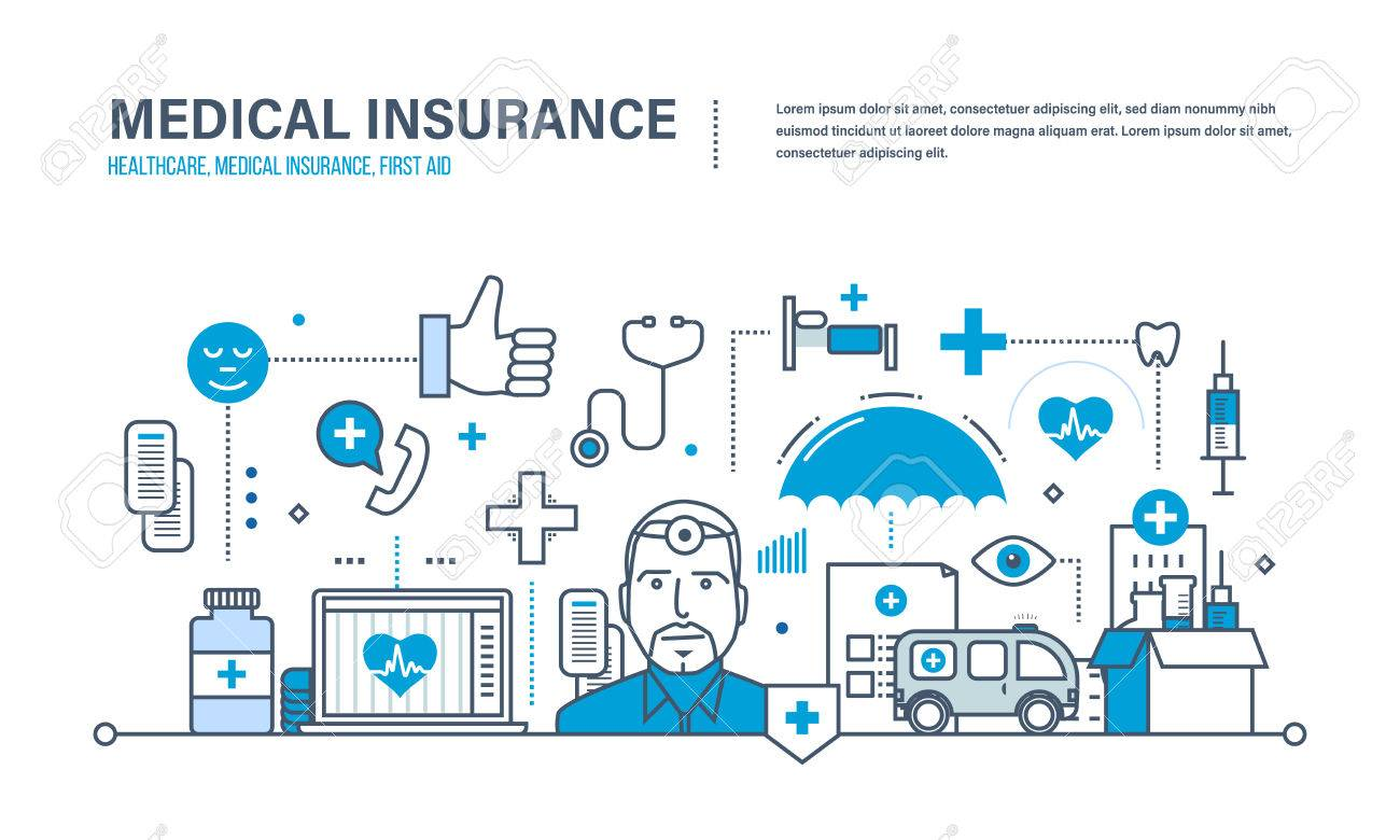 Modern medicine and technology, medical care, healthcare and medical insurance, protect and guarantee safety patients, first aid, ambulance. Illustration of vector doodles, infographics elements. - 67649085