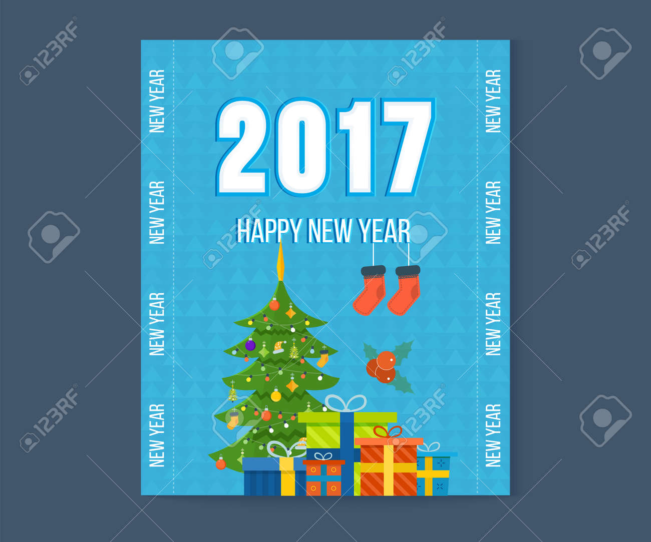 Christmas Wishing Card With Traditional Celebrating Text Merry