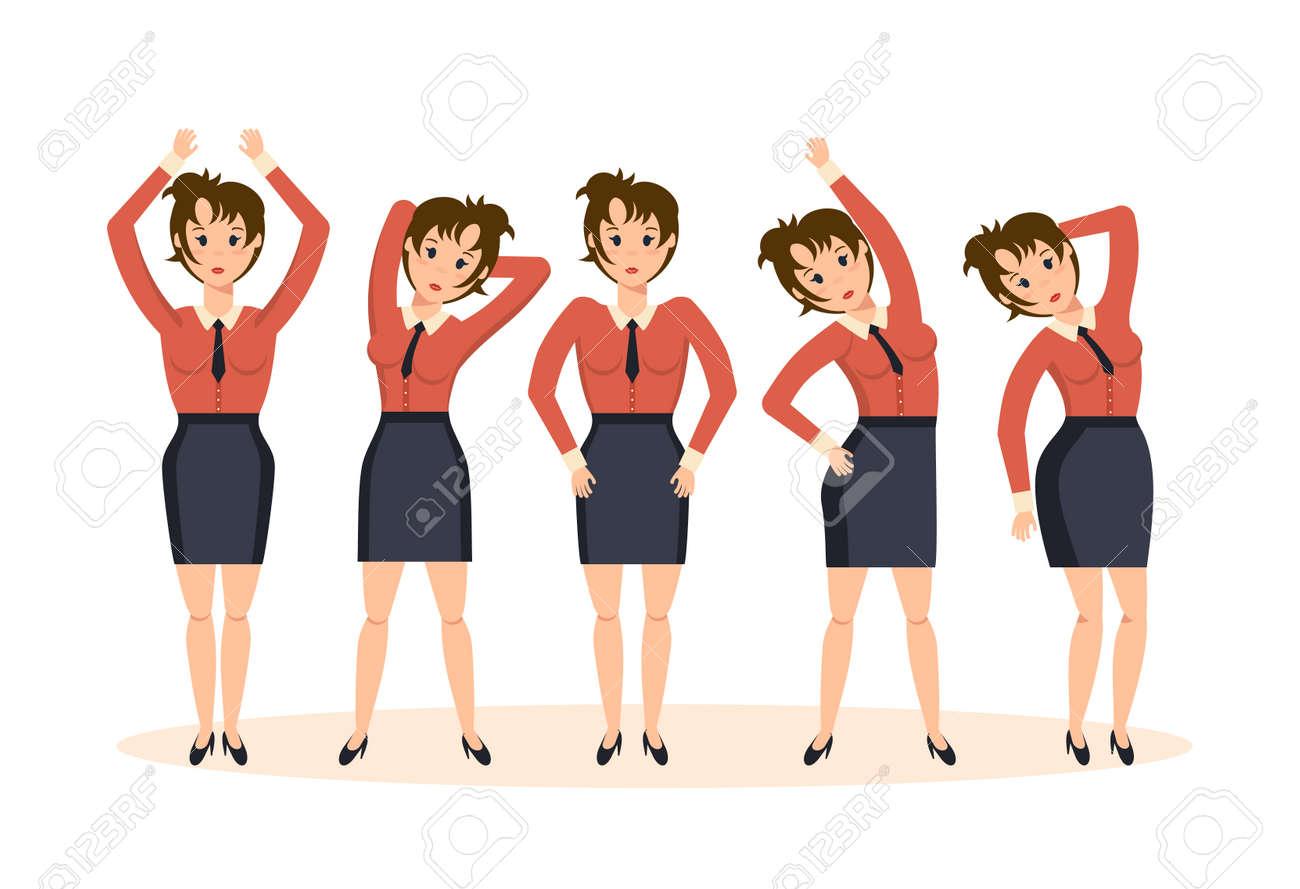 Mädchen Im Büro In Verschiedenen Posen Und Situationen übungen