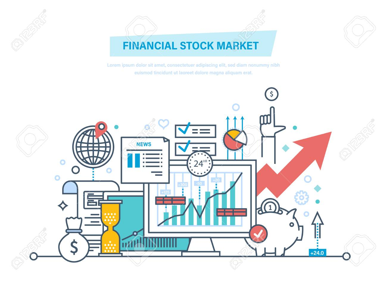Financial stock market. Capital markets, trading, e-commerce, investments, finance. - 88844440