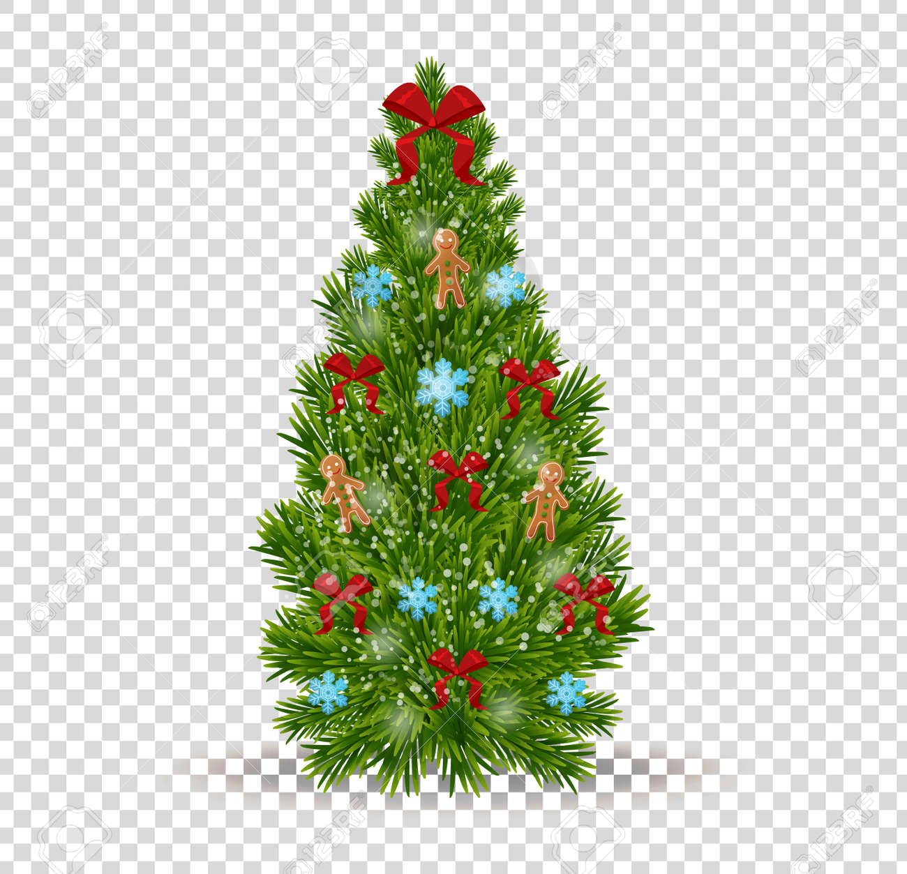 Christmas Tree Transparent Background.Merry Christmas Beautiful Realistic Christmas Tree On Transparent