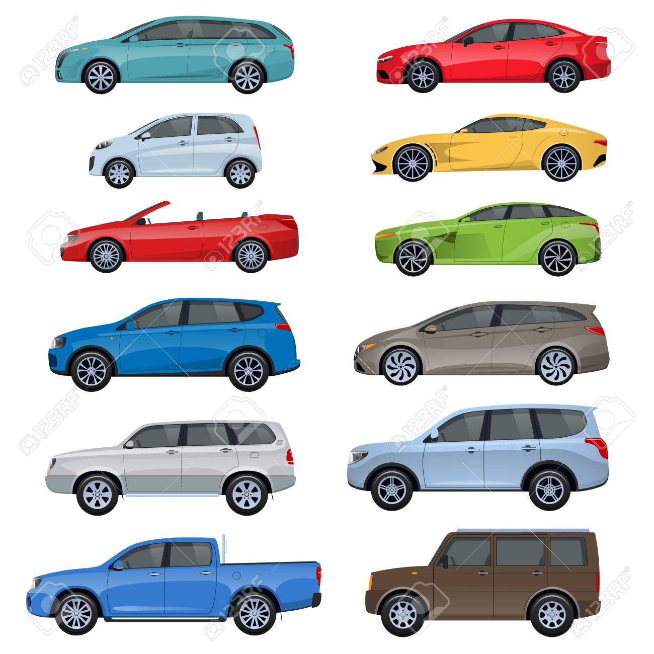 Set Of Different Sports Passenger Off Road Vehicles Passengers Royalty Free Cliparts Vectors And Stock Illustration Image 93323373