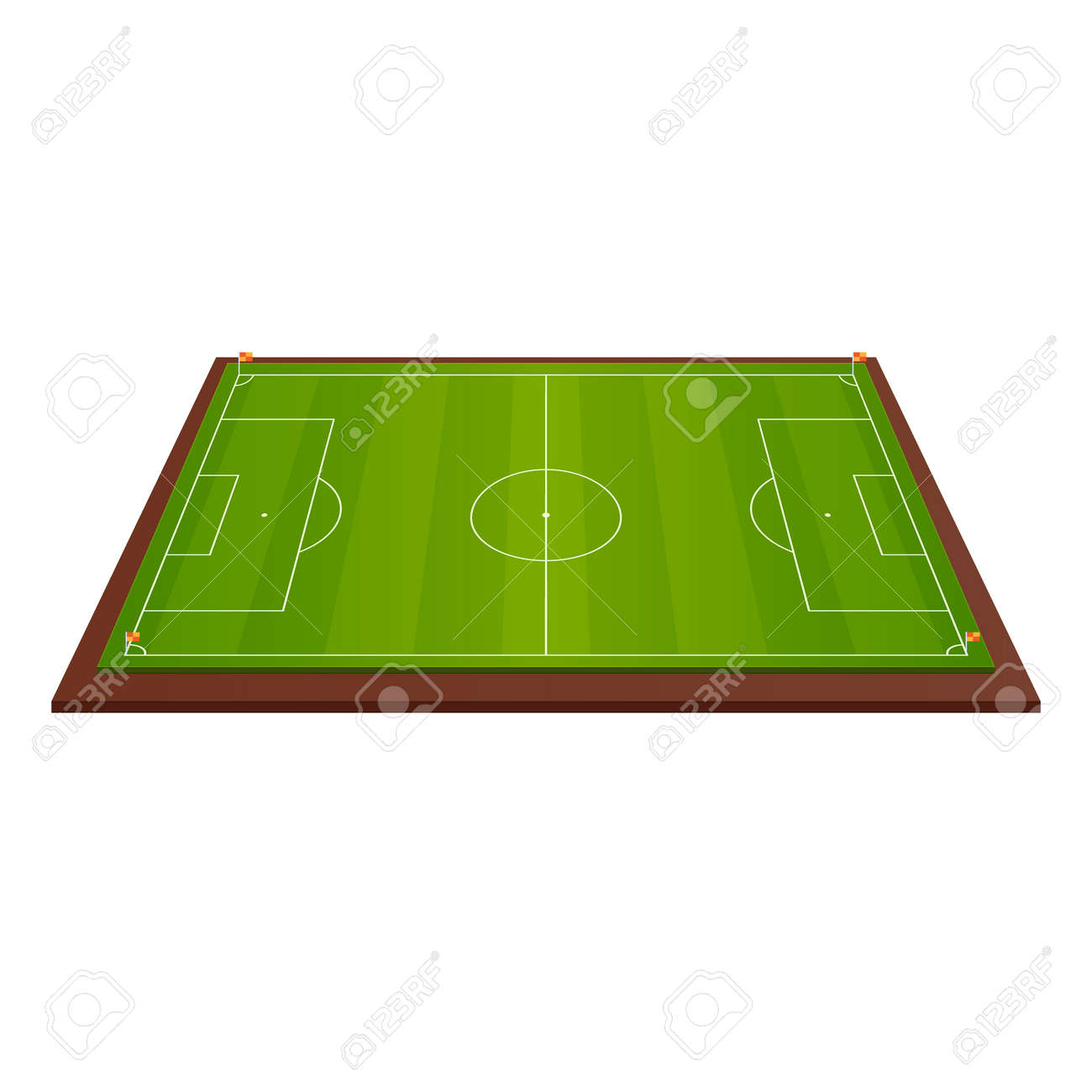 Realistic Football Field Template Playground With Green Grass