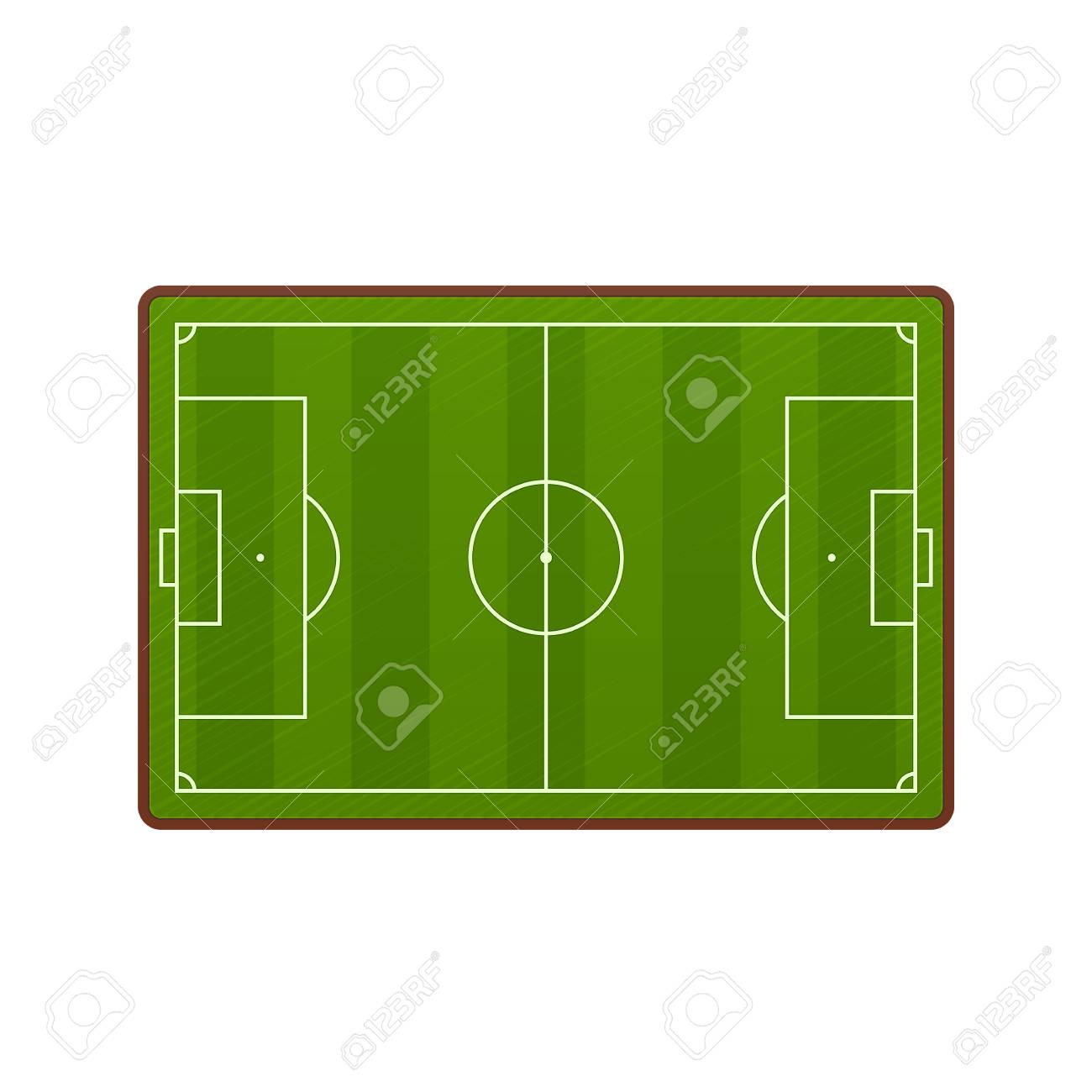 Realistic Football Field Template, Playground With Green Grass ...