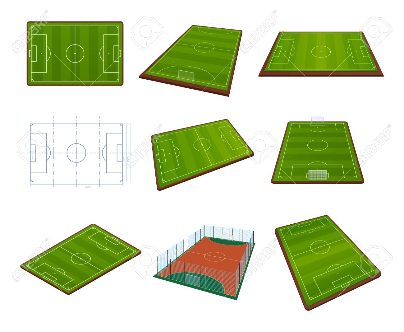 Set Realistic Football Field Template Playground With Green