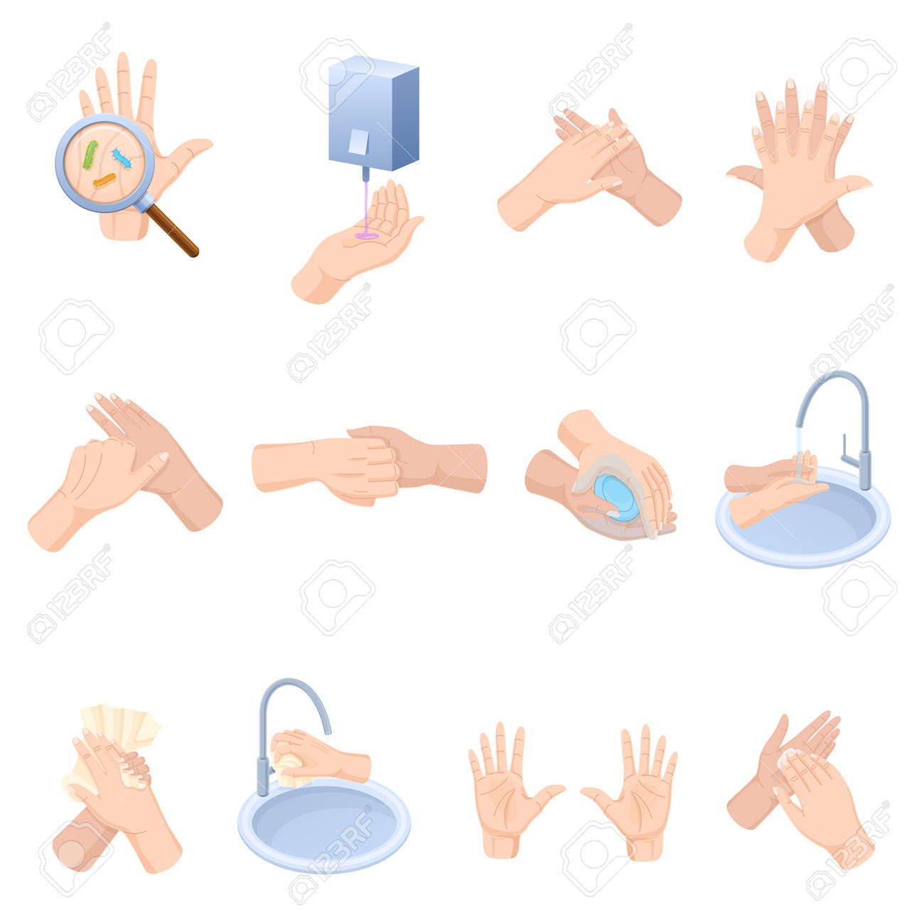 Stages proper care hands, washing, preventive maintenance of diseases, bacteria. - 94935732