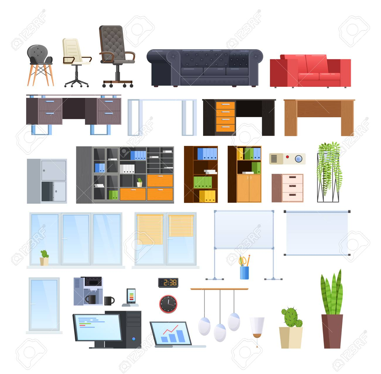 Set of large collection of office and home modern furniture. - 103757400