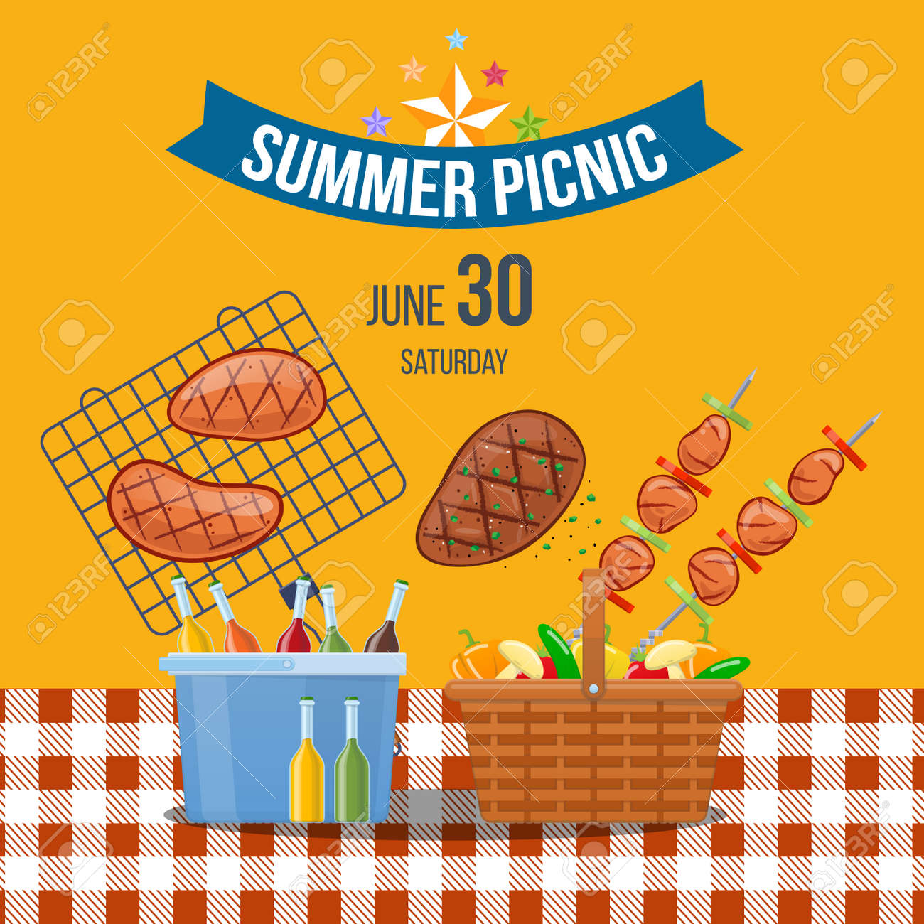 10665c91c979 Summer picnic event in park outdoor. Advertising poster picnic. Stock  Vector - 103757429