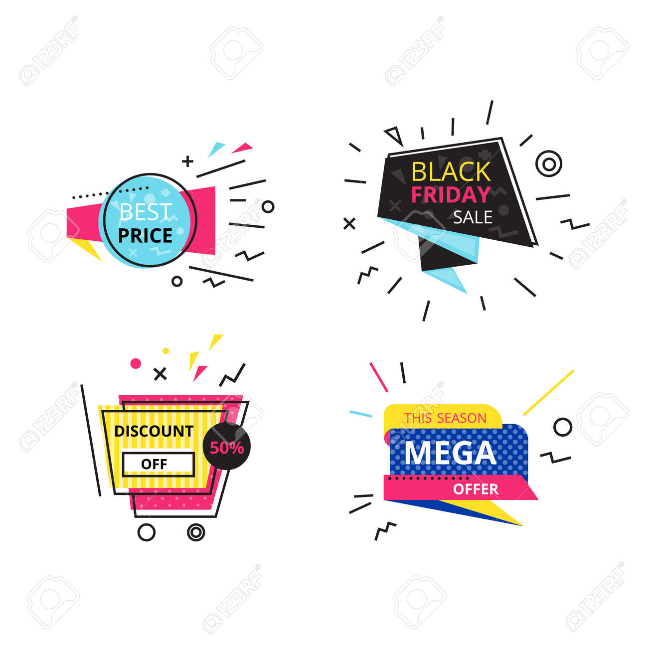 Set promotional stickers, discount labels  Best price, black