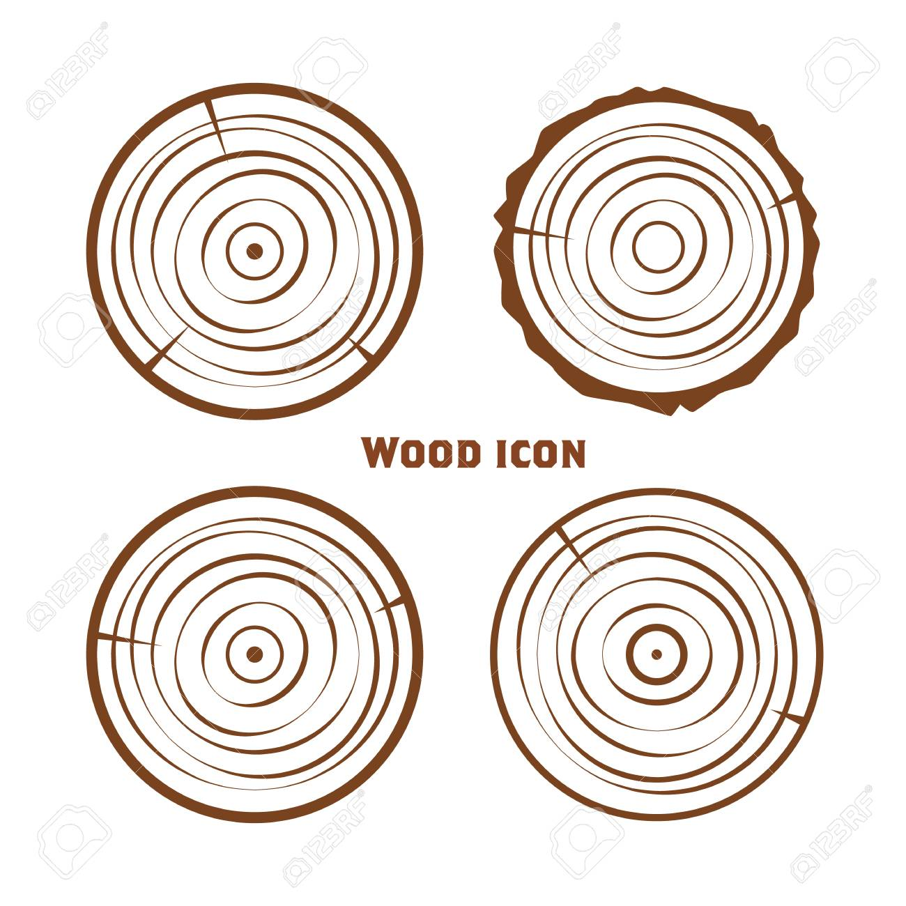 Wooden Icons Vector Wooden Sawn Rings Cut Sections Of Trunk Royalty Free Cliparts Vectors And Stock Illustration Image 104025916