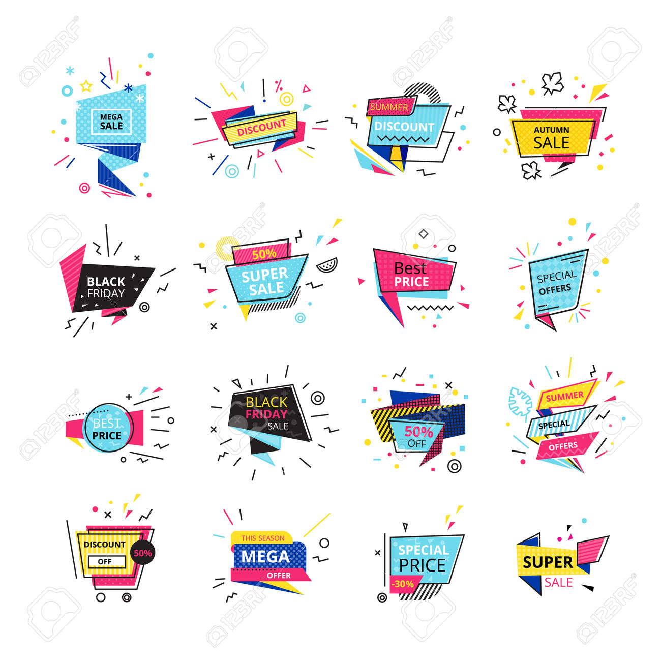 Big set promotional stickers banners discount labels super discounts sale black