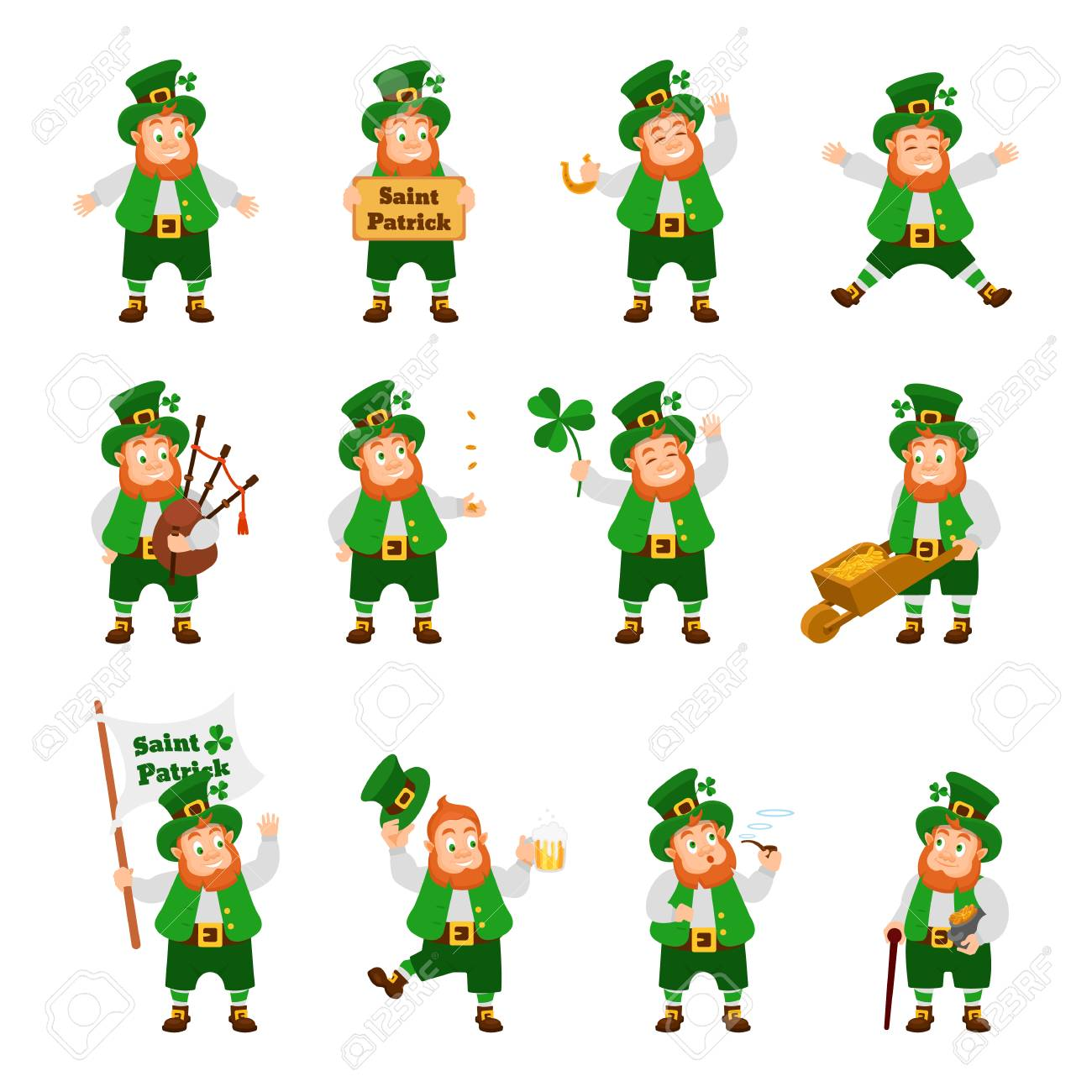 Set Of Funny Irish Fantastic Character Gnome Leprechaun Feast Royalty Free Cliparts Vectors And Stock Illustration Image 116570266