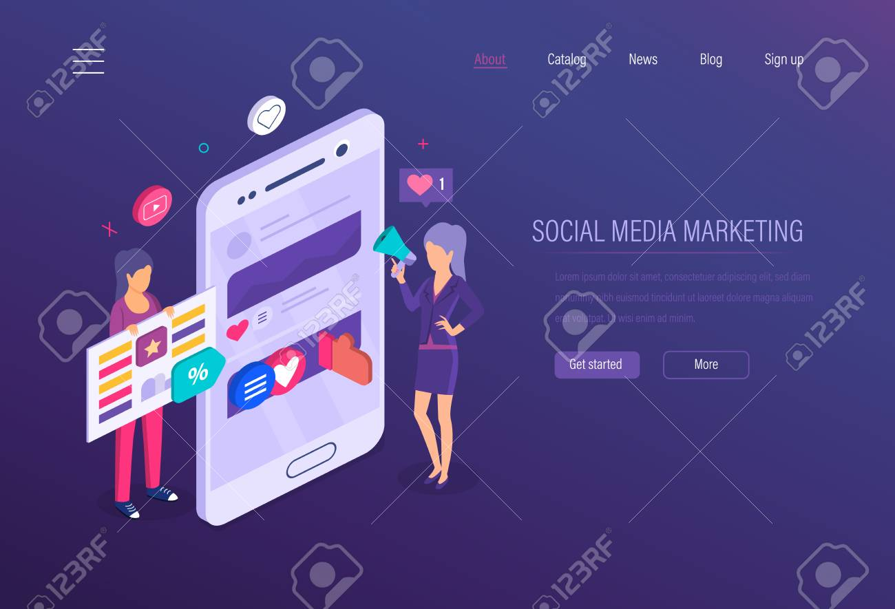 Social media marketing. Social network, online business marketing, strategy media planning, financial business analysis, advertising, content strategy and digital management. Isometric vector. - 124796600