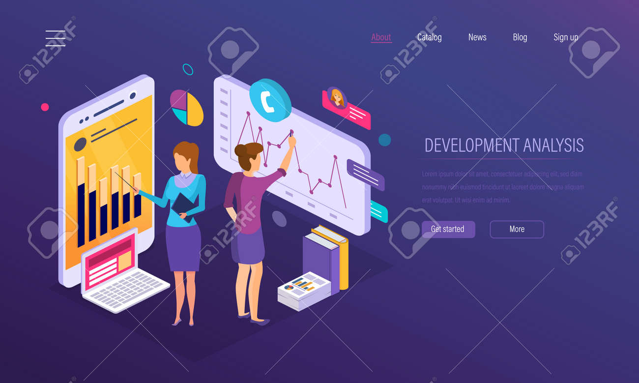 Development analysis, research of statistics indicators, financial growth graph, reports, market research, crisis, decline demand, business analytics, strategic planning promotion Isometric vector - 124768143