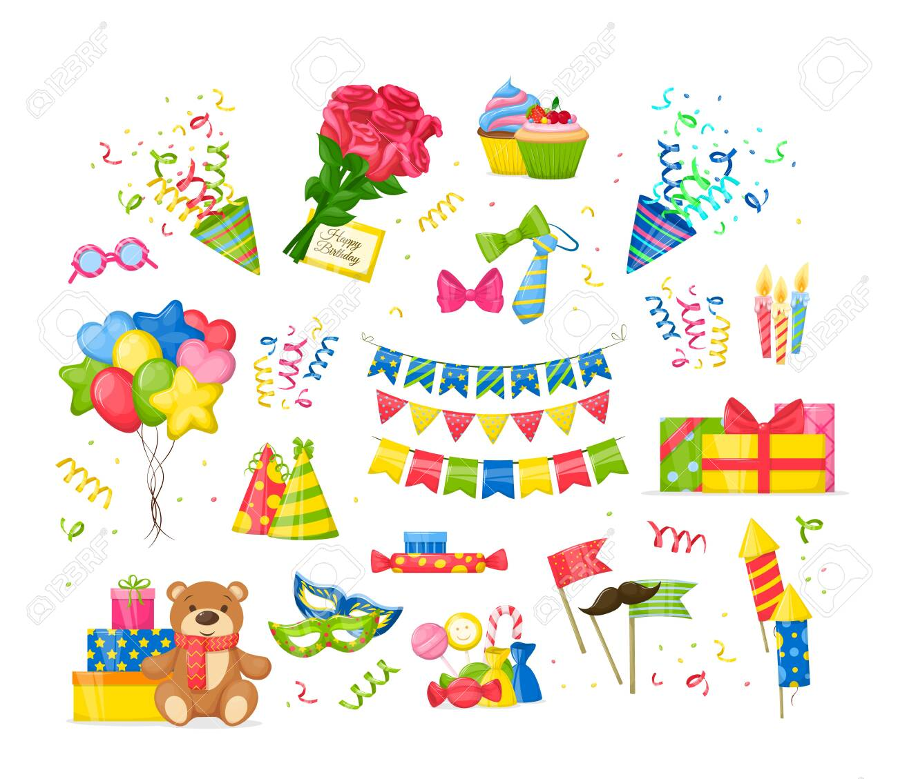 Celebration Birthday party decorations set. Happy birthday party symbols gift, cupcakes, cake, garlands, festive candles burning, ties, bows, toys, bouquet of roses, envelope cartoon isolated vector - 139470437
