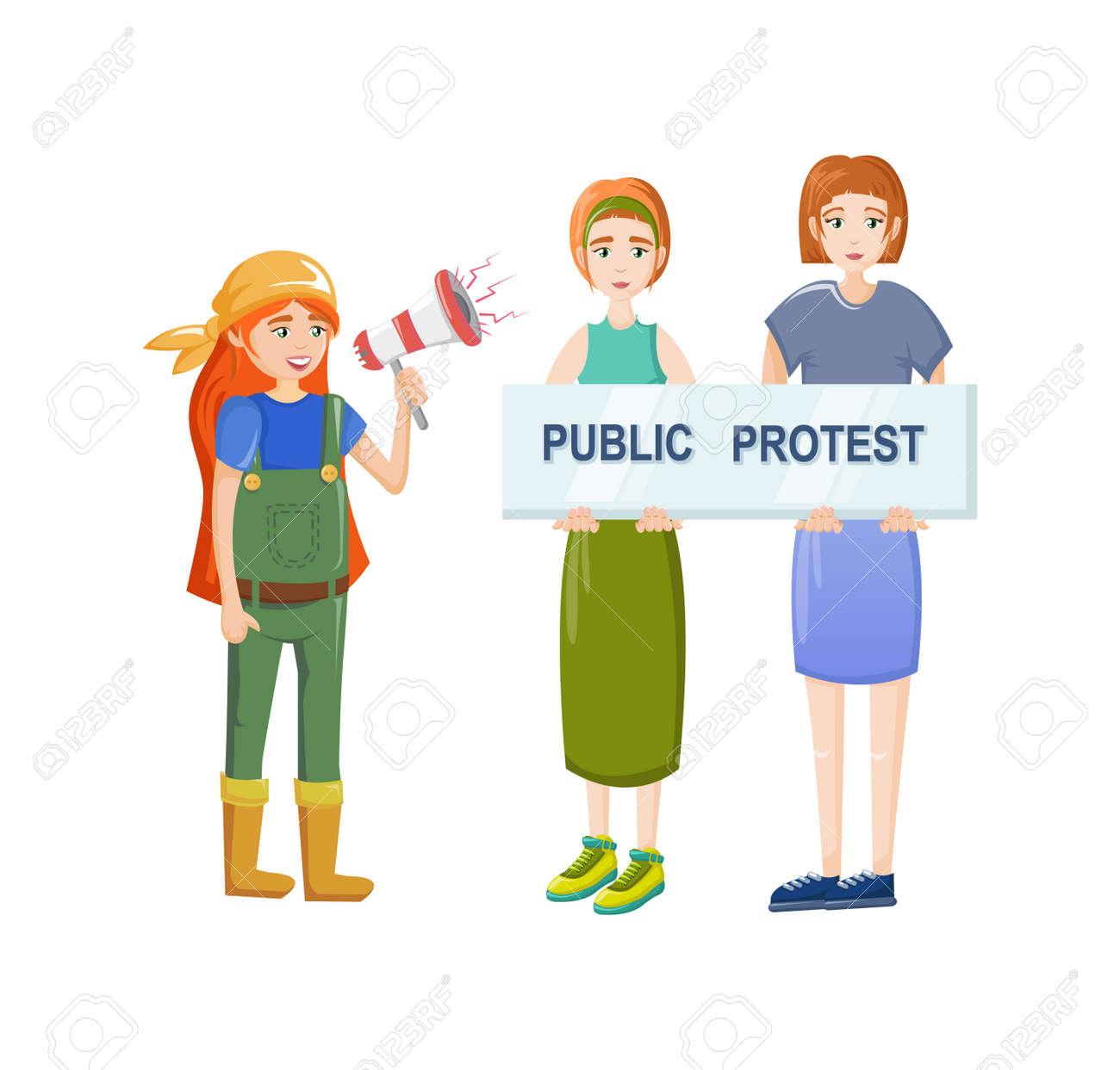 Female movements. Women empowerment, feminist demonstration, for women political rights. - 146426185