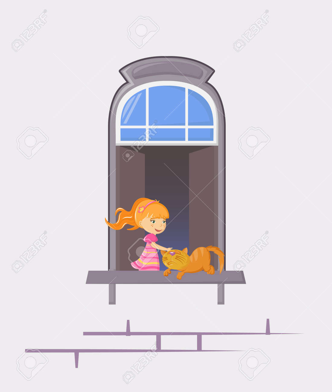 Neighbors in windows of old house. House building facade with open windows and with people. - 146426191
