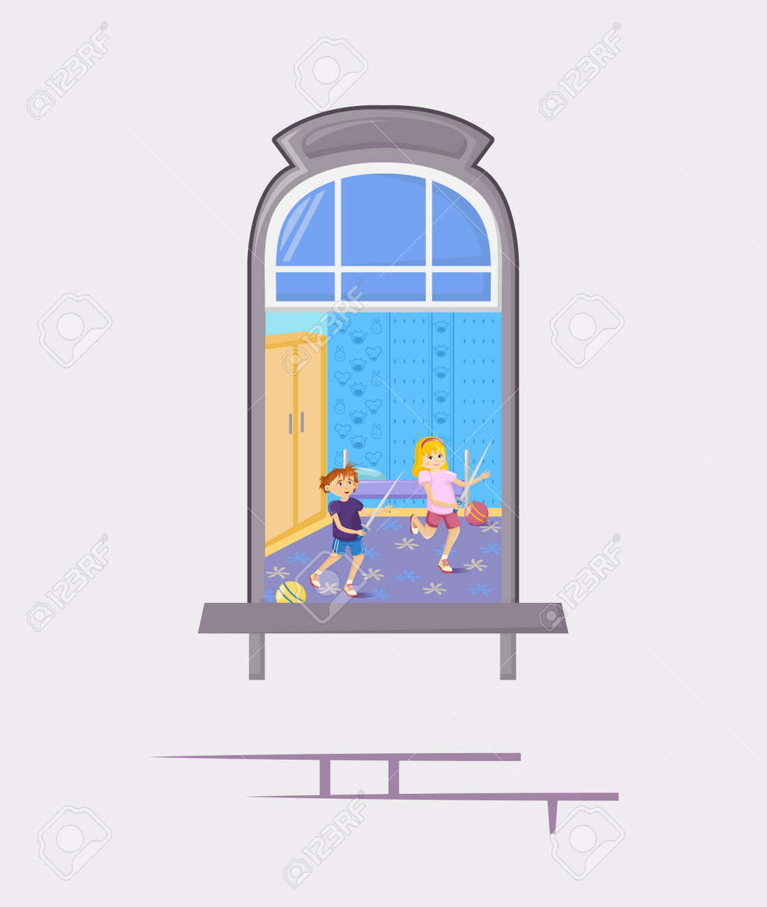 Neighbors in windows of old house. House building facade with open windows and with people. - 146426194