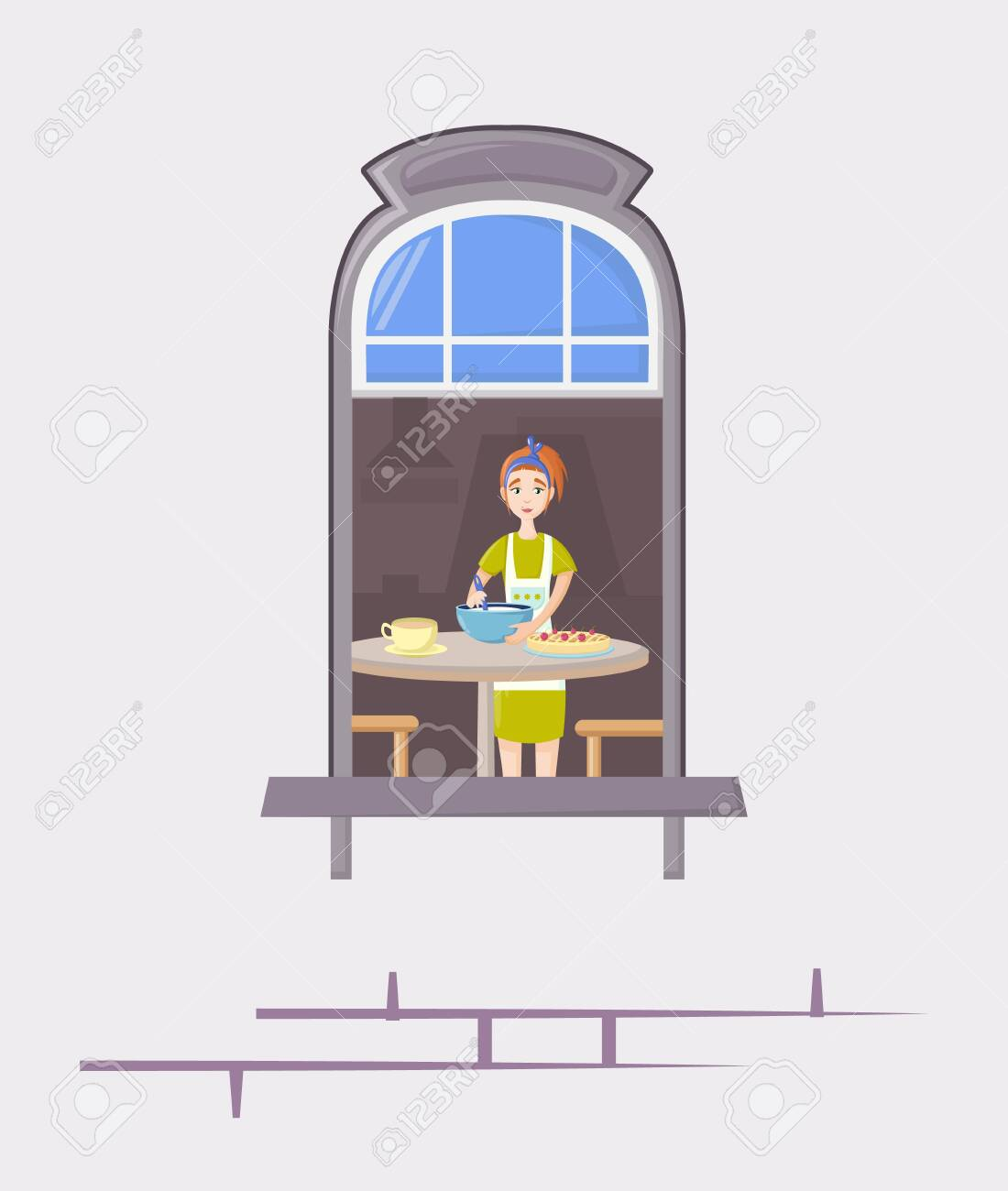 Neighbors in windows of old house. House building facade with open windows and with people. - 146426221