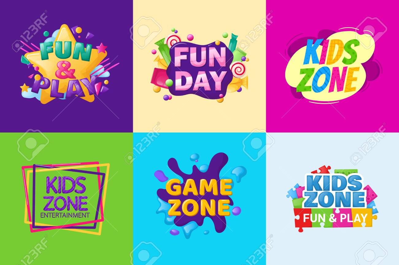 Kids zone entertainment set childish banner label sticker badge - 146818581