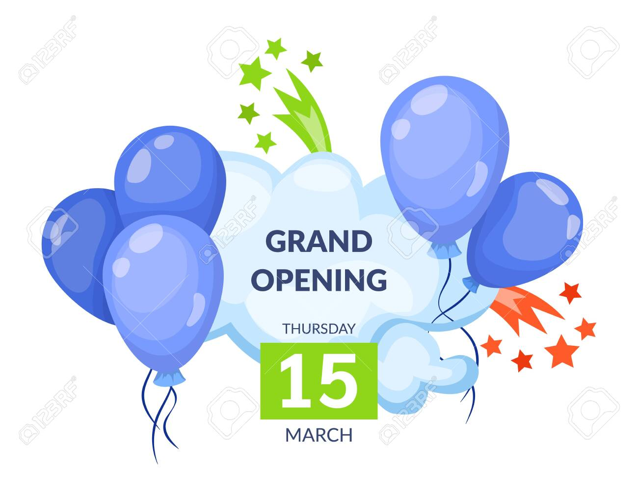Grand opening label typography graphic design. Grand opening invitation - 146818597