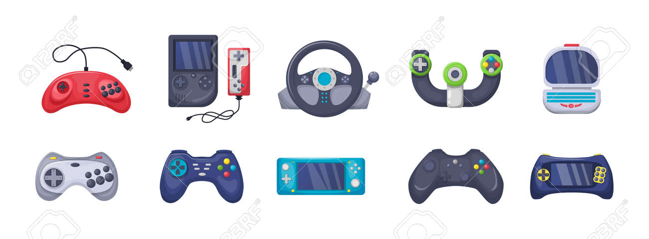 Game console objects set. Gamepad, playing joystick, video console, joy video games gadgets - 146818614