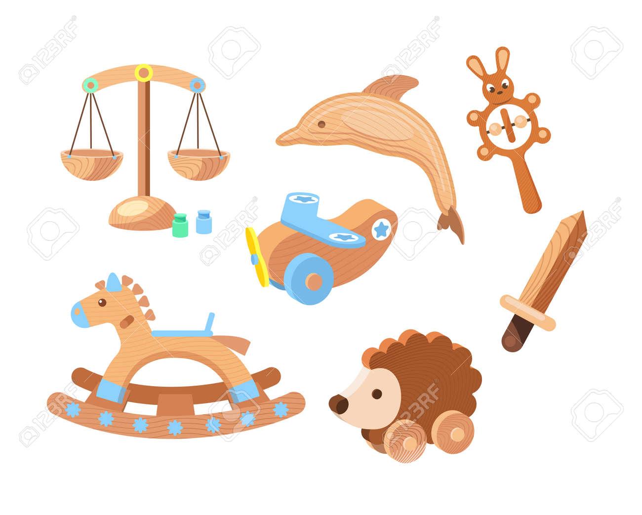 Vintage wooden toys set. Toys for children made of wood bears, plane, sword, hedgehog educational, puzzle, dog - 146818674