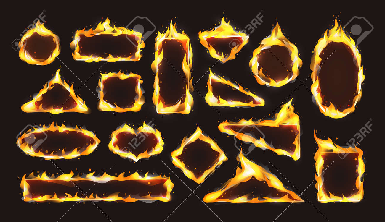 Red realistic flame frame set. Flames of various shapes with special light effect on dark background. - 146818681