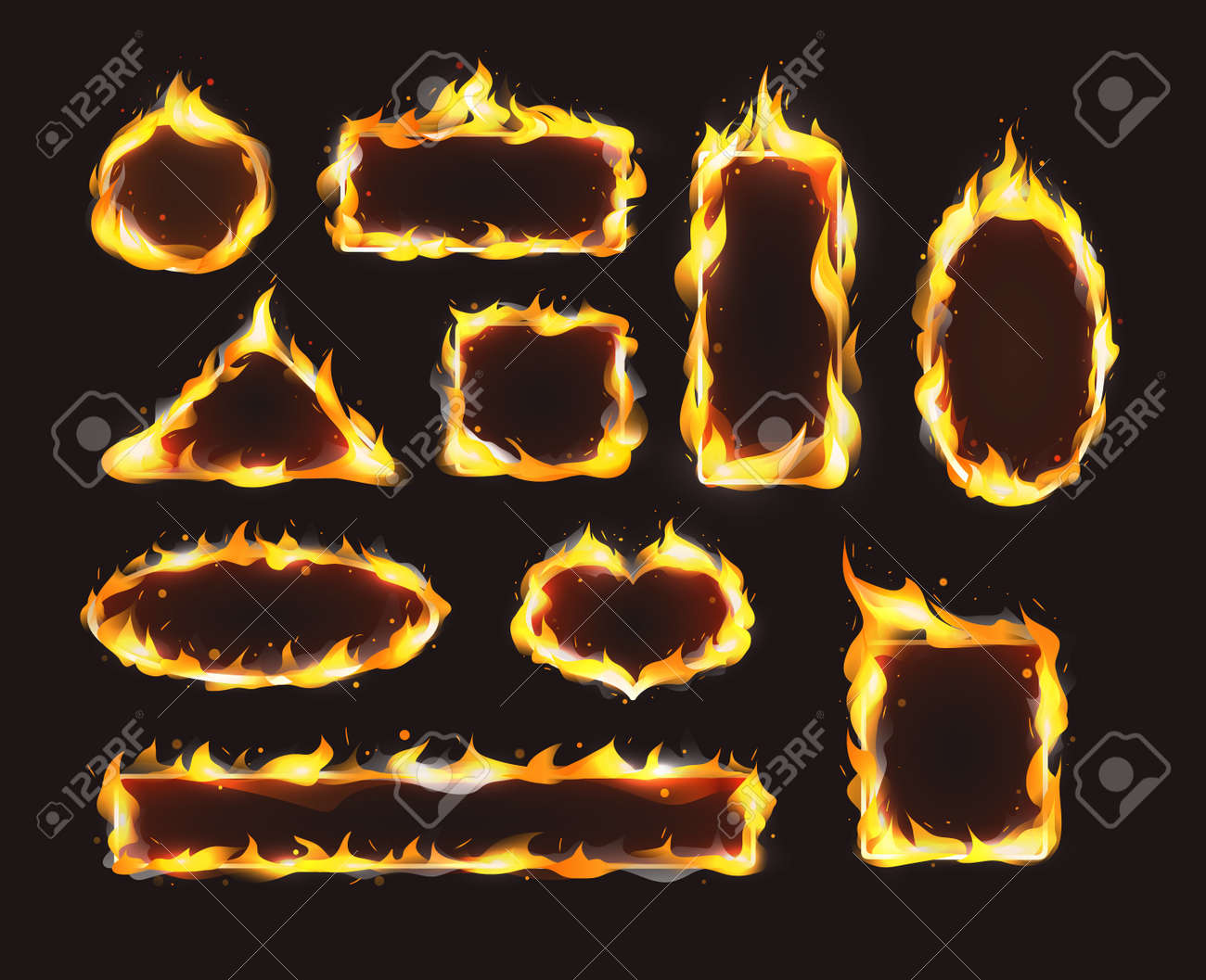 Red realistic flame frame set. Flames of various shapes with special light effect on dark background. - 146818682