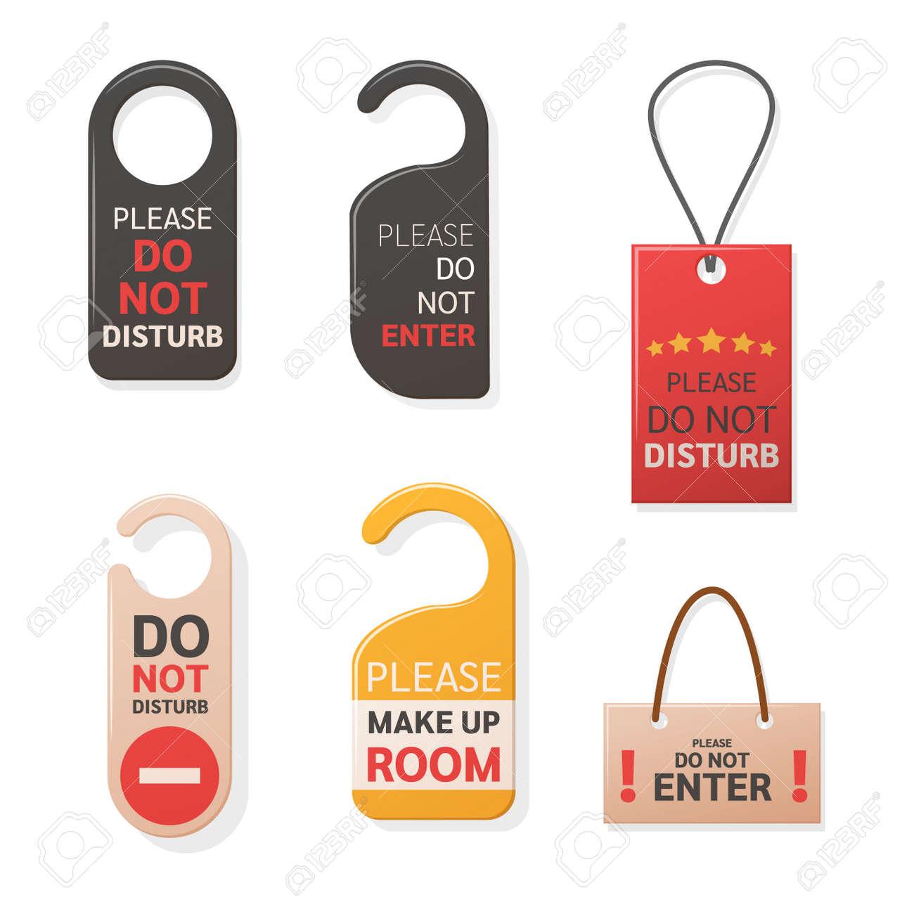 Do Not Disturb Sign hanger set. Hotel warning messages cardboard labels for staff vector - 146917821