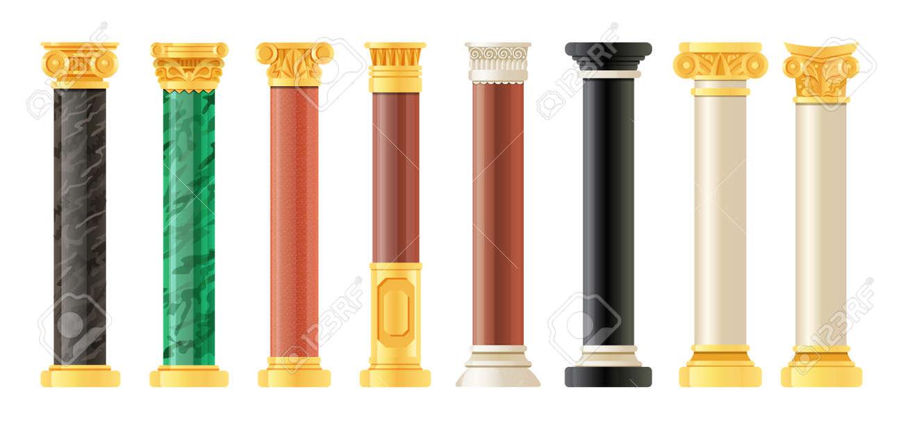 Realistic antique pillars set. Antique column, classic pillar. - 146917837
