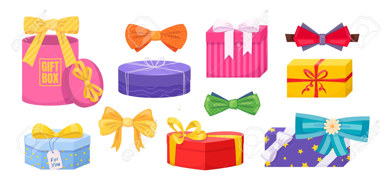 Gift box with tie bow. Present wrapped gift box differents shapes with ribbons, bows. - 147081839