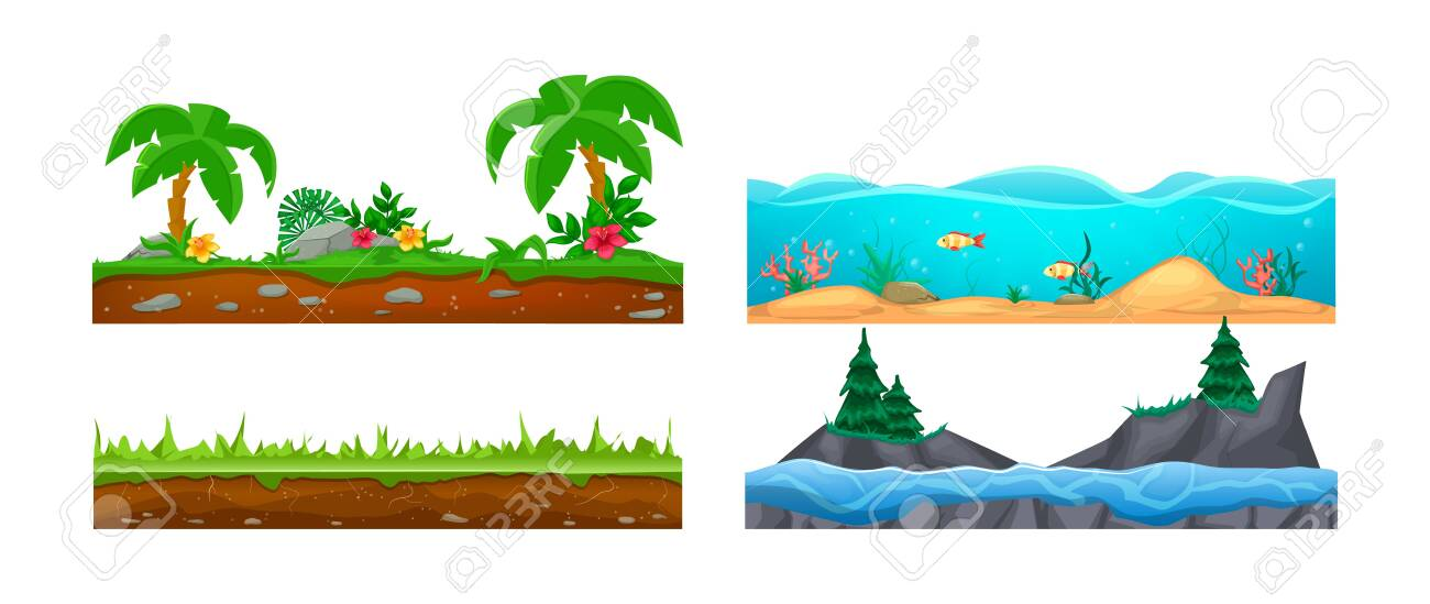 Game landscape, gaming interface. Landscape for 2D games. Scenery with cactus, soil, sandy ground, lava vector - 148570219