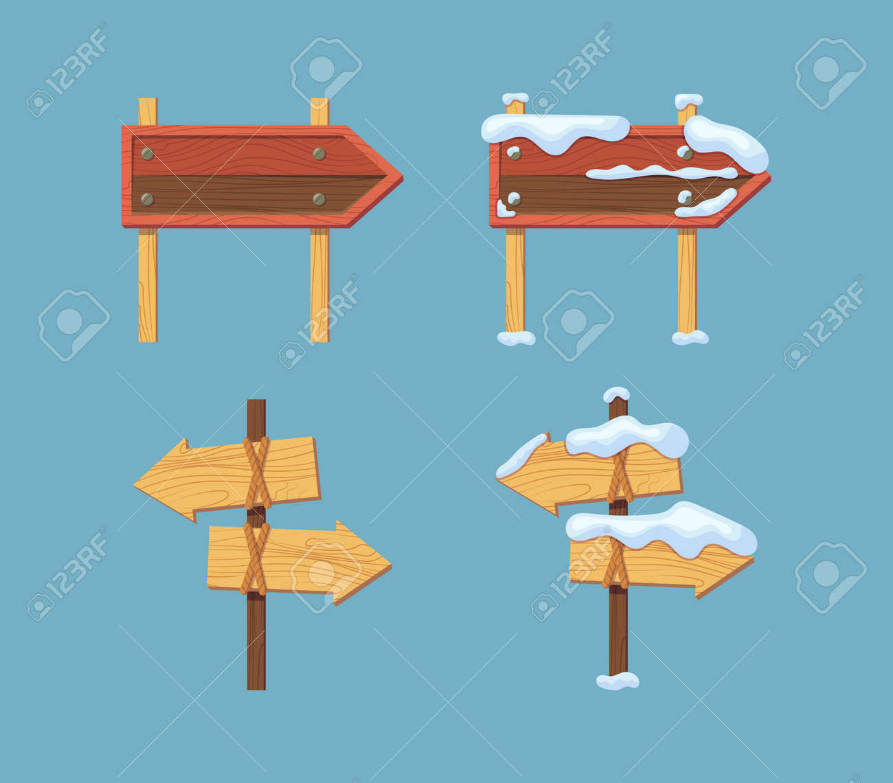 Wooden sign boards blank empty planks or signboards - 149817938