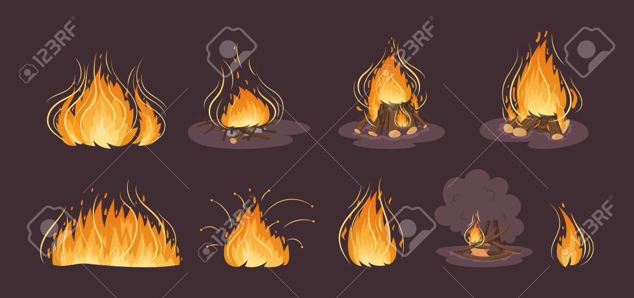 Firewood boards, bonfire of branches, logs, fire burning wooden logs - 149818117